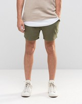 Asos Jersey Runner Shorts In Khaki