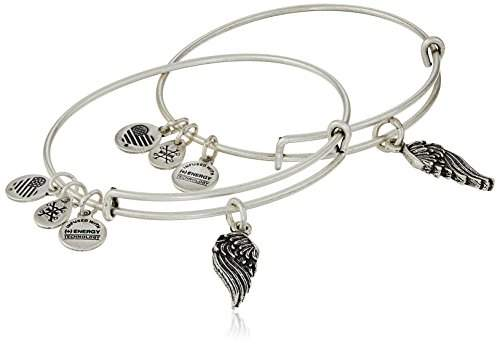 "Alex and Ani Path of Symbols"" Wings Set of 2 Silver Expandable Wire Bangle Charm Bracelet"