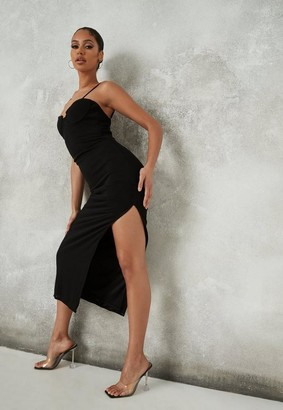 Missguided Black Mesh Low Back Midaxi Dress