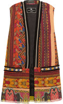 Etro Embellished Embroidered Cotton-blend Tweed Gilet - Brown