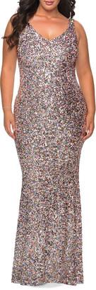 La Femme Plus Size V-Neck Sequin Column Gown