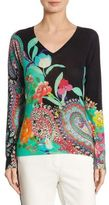 Etro Floral Paisley Silk & Cashmere V-Neck Sweater