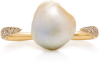 Mizuki One-Of-A-Kind Double Finger Golden Baroque South Sea Pearl Ring