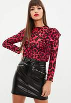 Missguided Petite Red Leopard Print Blouse