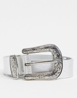 ASOS DESIGN slim western belt in silver croc faux leather