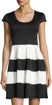 Chetta B FIt-and-Flare Cap-Sleeve Dress, Black/White