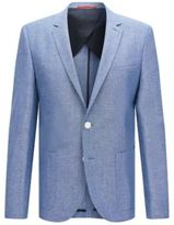 HUGO BOSS Antano Slim Fit, Wool Silk Linen Donegal Sport Coat 44R Blue