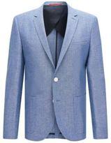 HUGO BOSS Wool Silk Linen Donegal Sport Coat, Slim Fit Antano 44R Blue