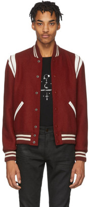 Saint Laurent Red Wool Teddy Bomber Jacket