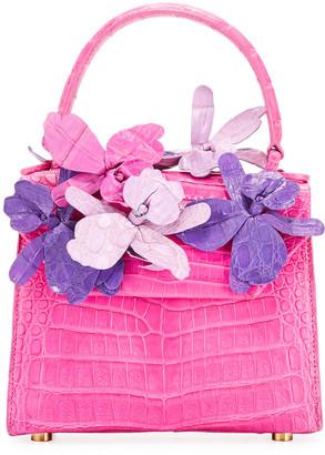 Nancy Gonzalez Lily 3D Floral Accented Crocodile Top-Handle Bag