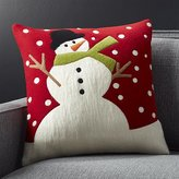 """Crate & Barrel Snow Day 18"""" Holiday Snowman Pillow"""