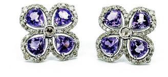 Arthur Marder Fine Jewelry Silver 0.78 Ct. Tw. Diamond & Amethyst Earrings