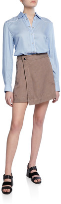 Derek Lam 10 Crosby Mixed Media Shirt Dress with Wrap Skirt