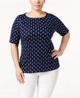 Charter Club Plus Size Cotton Boat-Neck T-Shirt, Created for Macy's