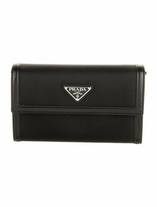 Prada Tessuto Saffiano Wallet w/ Shoulder Strap w/ Tags Nero