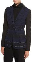 Elie Tahari Dorinda Tweed-Front One-Button Jacket, Black/Multi
