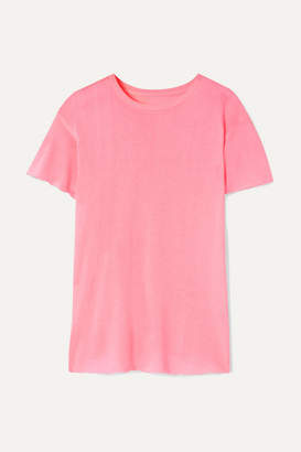 The Elder Statesman Distressed Cashmere And Silk-blend T-shirt - Baby pink