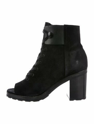 Frye Danica Lug Combat Suede Lace-Up Boots Black