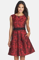 Eliza J Women's Embellished Waist Brocade Fit & Flare Dress