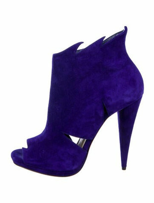 Christian Louboutin Suede Cutout Accent Boots Blue