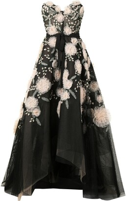 Marchesa Floral-Embroidered Strapless Gown