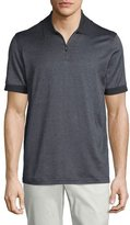 Brioni Micro-Grid Jacquard Quarter-Zip Polo Shirt, Gray/Navy