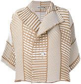 Issey Miyake ribbed detail jacket - women - Polyester - 2