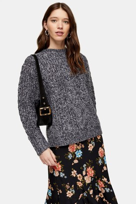 Topshop Black And White Vertical Cable Crew Sweater