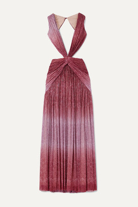 PatBO Cutout Twist-front Ombre Lurex Maxi Dress - Pink