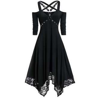 Gofodn Halloween Dresses for Women Plus Size Clothes Ladies Sexy Solid V Neck Lace Open Shoulder Half Sleeve Gothic Dress Black