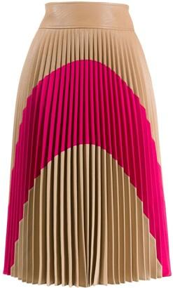 Stella McCartney Colour-Block Pleated Midi-Skirt