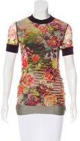 Jean Paul Gaultier Soleil Mesh Floral Print Top