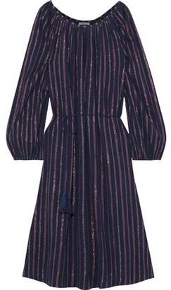 Mes Demoiselles Esmeralda Striped Crinkled Cotton-blend Dress