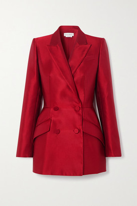 Alexander McQueen Double-breasted Silk-satin Blazer - Red