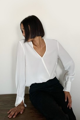 Thakoon Silk Wrap-Effect Silk Blouse