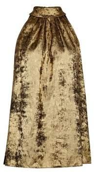 Dorothy Perkins Womens **Tall Gold Velvet Halter Top, Gold