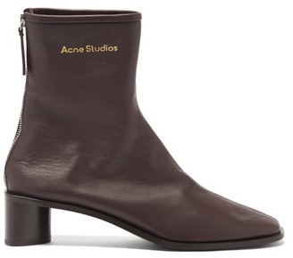 Acne Studios Bertine Back-zip Stretch-leather Ankle Boots - Dark Brown