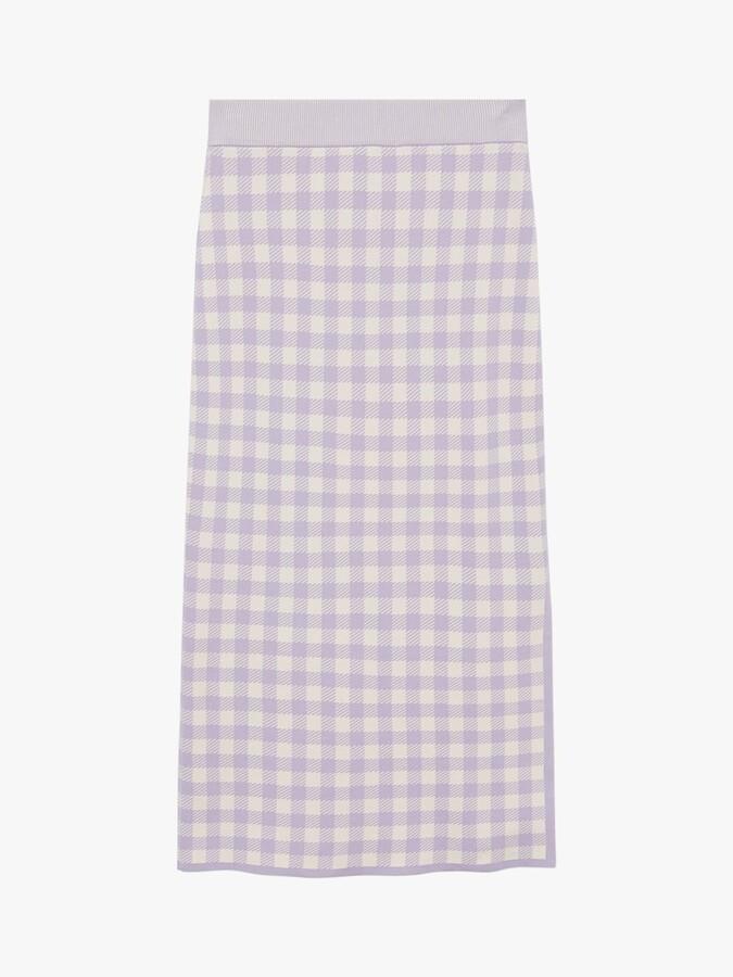 Thumbnail for your product : MANGO Check Midi Pencil Skirt, Pastel Purple