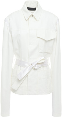 Haider Ackermann Belted French Terry-paneled Cotton-canvas Jacket