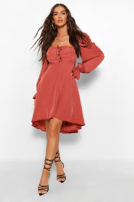 boohoo Square Neck Lace Up Skater Dress