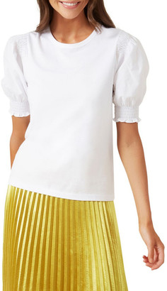 French Connection Puff Sleeve Shirred T Shirt