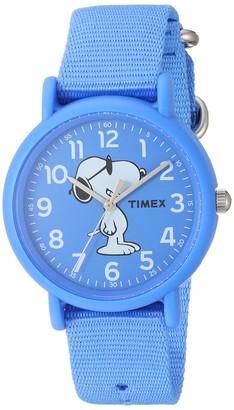 Timex Unisex TW2T65800 Weekender Peanuts Joe Cool Blue Fabric Slip-Thru Strap Watch