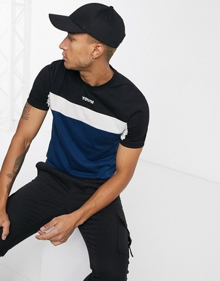 Asos DESIGN t-shirt with color block detail and small chest text print