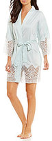 Flora Nikrooz Genevive Charmeuse & Lace Kimono Robe
