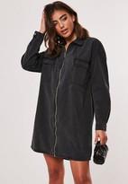 Missguided Black Denim Utility Shirt Dress