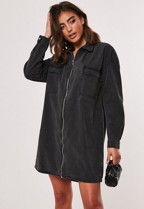 Missguided Black Denim Utility Shirt Dress