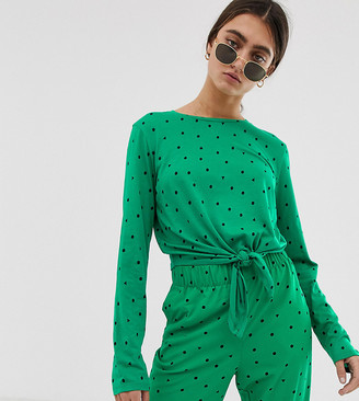Monki long sleeve tie front top in green triangle polka dots
