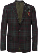 Valentino tattoo embroidered tartan blazer - men - Cotton/Polyester/Cupro/Virgin Wool - 46