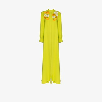Carolina Herrera Floral Embroidered Silk Maxi Dress