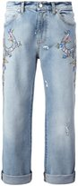 Alexander McQueen embroidered boyfriend jeans - women - Cotton/Sequin - 36